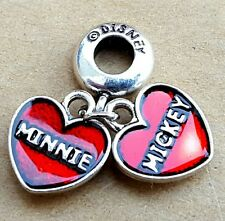 Disney Minnie Loves Mickey Mouse Double Red Hearts European Dangle Charms Beads