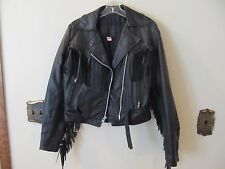 Black LEATHER JACKET Heavy Duty MOTORCYCLE BIKER GENUINE LEATHER FRINGE Small