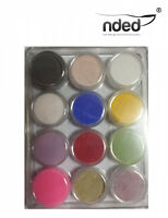 Pack 12x polvo acrilico  12 colores diferentes  NDED Alta Calidad uñas porcelana