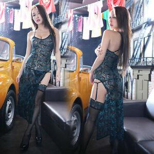 Sexy Cheongsam Lace Sleepwear Women Lingerie Peacock Dress Underwear Uniform Set