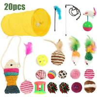 20 x chat jouer jouets chaton Rod souris plume Bell Ball Teaser gratter Tunnel