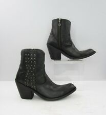 Ladies Printed Snake Black Leather Fashion Ankle Booties Size: 8.5 B