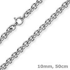 10mm round Anchor Necklace Striped Chain Collier Made Of 585 White Gold 50cm