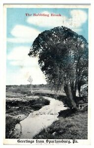 Babbling Brook, Greetings from Spartansburg, PA Postcard *6L(3)13