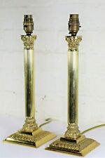 Pair Corinthian Column Table Lamps Antique Style Lamps Tall Vintage Solid Brass