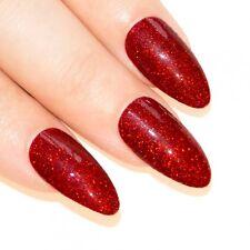 False Nails Red Gel Almond Stiletto Long Bling Art 24 Fake Acrylic Tips 2g Glue