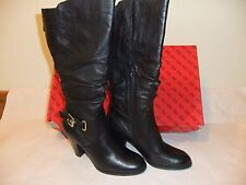 GUESS Mallay Black Leather Fashion  Knee High Boot Size 8 NIB $190