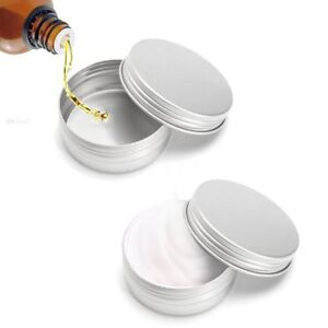 24 X Steel Round Tin s 50g Screw Top Lid Storage Beard Lip Balm Empty   -)