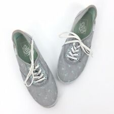 Women Vans Size 7 Palm Tree Embroidered Striped Lace Up Sneakers Shoes Mint
