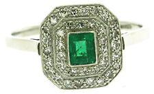 White 18Carat diamond emerald rings size T handmade vintage
