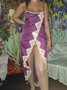 """VTG SILKY ORCHID LACY SLIT NYLON FLARE NIGHTGOWN GOWN FREEBUST PLUS 50/52"""""""