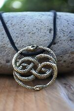 NeverEnding Story Antique Bronze Auryn Necklace Leather Never Ending Snakes 20""
