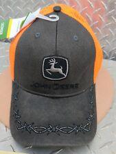 John Deere Cap hat Barb wire twill w/ reflective neon blaize orang Mesh licensed