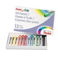 Pentel Oil Pastel Set W/Carrying Case, 12-Color Set, Assorted - PENPHN12
