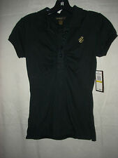 NWT $40 Jr Misses RUCHED Collar BLACK Shirt 8/10 WORK Summer CLEARANCE Sz M