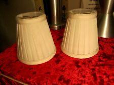 2 Beige Pleated  Linen 5 Inch Clip On Chandelier Lamp Shade 5 x 5