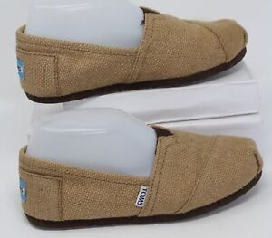 Toms Espadrilles Womens Size 6.5 Ballet Flats Tan Brown Tweed Hemp Slip-On Shoes