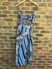 FRENCH CONNECTION Floral Wrap Dress Womens Size UK 6 | US 2 Blue Strappy Long