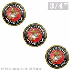 """3 Pack Gel Top Domed Glossy 3/4"""" 3M Premium Decal Stickers - USMC MARINES LOGO"""