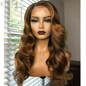 Luxury Lace Front Ombre Golden Brown Full Lace Human Hair Wig Highlight Balayage