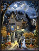 Tess's Halloween - DIY Chart Counted Cross Stitch Patterns Needlework 14 ct