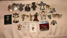Vintage To Mod Angel + Rhinestone Pins + Brooches Lapel Christmas : LOT of 20