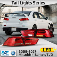 LED Tail Lights for 2008-2017 Mitsubishi Lancer EVO X Sequential Turn Signal Red