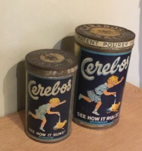 Two Vintage Cerebos Table Salt Tins
