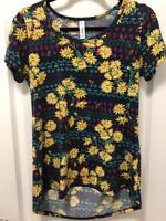 LulaRoe Women's Classic T Shirt Size XS Blue Floral Print Top Short Sleeve EUC