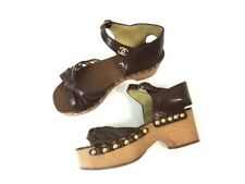 Chanel Brown Leather Strappy Ankle Strap Wood Platform Sandals Shoes Size 37