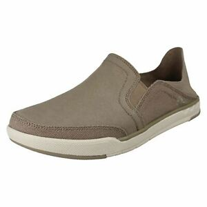 Mens Cloud Steppers By Clarks Casual Slip On Canvas Shoes Step Isle Row