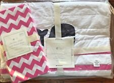 Pottery Barn Baby 2 Pc Nursery Crib Bedding Hamptons Whale Quilt & Chevron Sheet