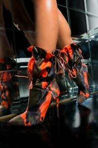 Anthony Wang EAGLE CAMO HATE WHEN YOU LEAVE DRAWSTRING STILETTO HEEL BOOTIE