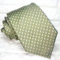 Cravatta Classica uomo verde JACQUARD 100%  seta Made in Italy RP€ 36 8 cm