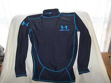 Mens Under Armour Gray/Blue Long Sleeve Shirt Large COMPRESSION FIT