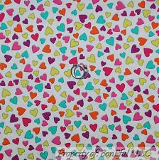 BonEful Fabric FQ Cotton Quilt White Pink Aqua Blue Small Candy Heart Valentine