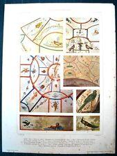 Stampa antica CATACOMBE di ROMA Decorazioni pavone 1920 Old antique print Rome