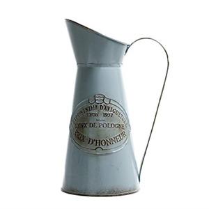 Antique French Style Country Rustic Primitive Jug Vase Metal Pitcher Flower Vase