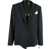 NWT TAHARI Arthur S. Levine Navy Blue Button Front Blazer Jacket Size 14