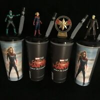 Disney Captain Marvel Figure Movie Cinema 0.5L Drinks Cups SET OF 4 Toppers