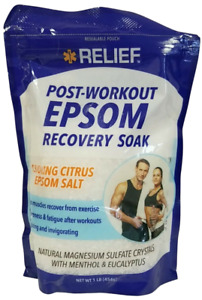 RELIEF Post-Workout Recovery Soak Epsom Salt (1 lb) Cooling Citrus G7173