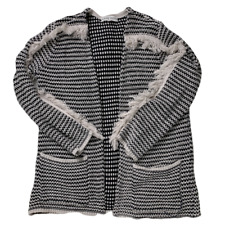 Knox Rose| Women's | Black & White Fringe Cardigan | Size Small