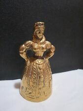 Vintage Collectible Victorian Lady Brass Tea Bell with Foot Clapper VGUC