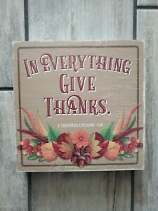 "Brand New ""In Everything Give Thanks Box Sign "" 8""x8"""