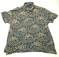 Vintage Polo Ralph Lauren Button Down Shirt Mens 2XL Camp Blue Orange Paisley