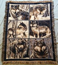 """WOLF / WOLVES WOVEN TAPESTRY WITH FRINGES 46"""" WIDE 57"""" HIGH"""