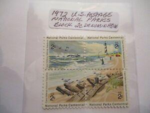 Block 1972 U.S. Postage National Parks Postage Stamps - 2 Cent Denomination