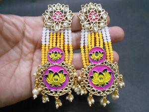 Traditional Meena Enamel Afghani Kundan Pearl Bead Party Festive Wedding Earring