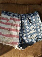 TopShop Moto Mom American Flag Jeans Shorts women's UK14, EUR42, US10