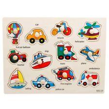 Transportation Wooden Peg Puzzle Jigsaw Bundle Shape Toys and Games Preschool